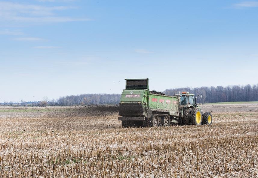Le recyclage des MRF en milieu agricole représente le débouché principal pour les matières gérées par Viridis. Les MRF se traduisent en une source fertilisante sécuritaire et de qualité, apportant du même coup de la précieuse matière organique.